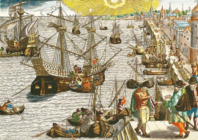 Bry, Theodore de: Departure from Lisbon for Brazil, the East Indies and America.  (003629)